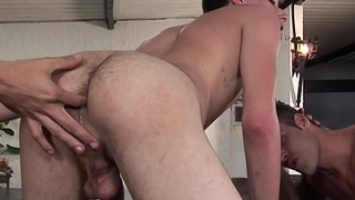 Hot young guys in gay interracial ass licking and fucking
