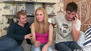 Virgin playgirl gets her fuck hole delighted by 2 hunks