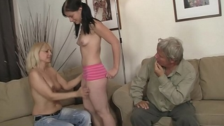 Family threesome with his young girlfriend
