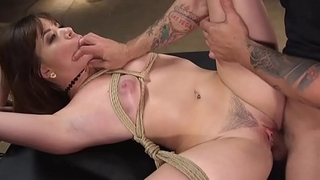 Brunette pussy pounded as slave training