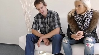 HUNT4K. Rich guy plays with blonde'_s pussy in front of her cuckold