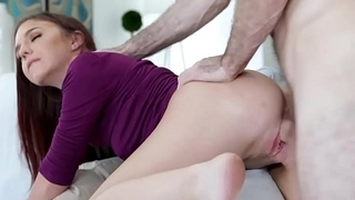 Studs thick cock romping Ava Hazes moist pussy on top!