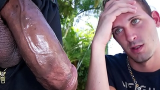 GAYWIRE - Scared Little Logan White Faces Castro Supreme'_s Big Black Dick
