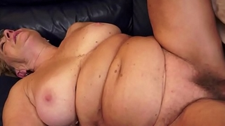 Fat grandma covered with thick jizz