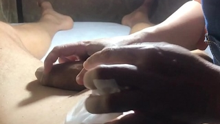 Brazilian Waxing  of a Hung Male  Part 6 More Tweezing