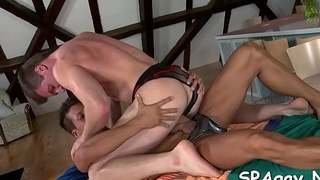 Explicit anal fucking for handsome lad during massage