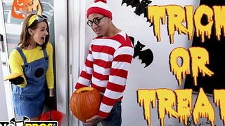 BANGBROS - Trick Or Treat, Smell Evelin Stone'_s Feet. Bruno Gives Her Something Good To Eat.