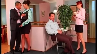 Man gets favourable with 2 clothed females by fucking them hard