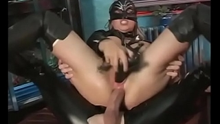 Slave in latex dress double fucked
