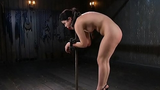 Waxed Asian in extreme bondage anal fingered