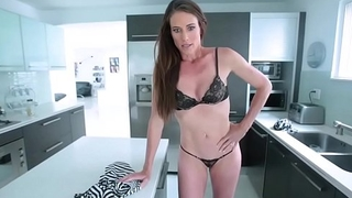 Sofie Marie is cooking and she gets all the sauce on her dress and wash it with her undies on,stepson saw her hot body then she gave him a blowjob.