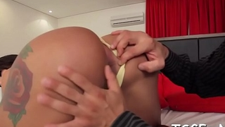 Tight butt of a pretty tgirl gets crammed with huge dong