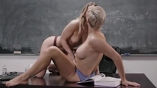 Teacher Ryan Keely scissoring and oral with young dyke