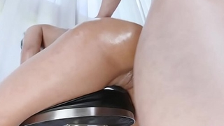 Bambino lets Demi Rouge enjoy his huge cock as she suck it so deep!