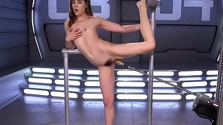Hairy slut fucks machine in various positions