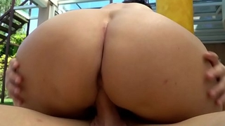 European granny cockriding outdoors