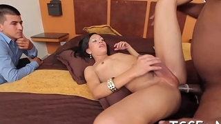 Hot ladyboy slut gives a mouth job and gets booty smashed