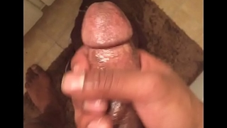 Stroking my dick after a hot shower