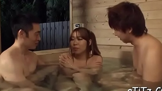 Large boobs asian gets wild toying until her fur pie is awfully wet