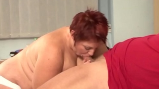Fat redhead gives best deepthroat and a busty titjob